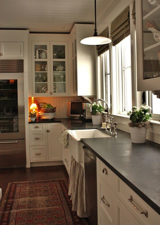 Kitchens Benjamin Moore White Dove Perrin And Rowe Gooseneck Bridge Kitchen Faucet Soapstone Countertops Gray Skirted Farmhouse Sink Gl Front