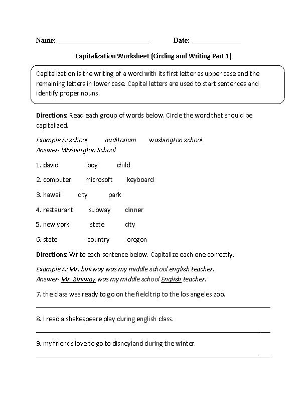 Englishlinx Com Capitalization Worksheets Capitalization Worksheets Language Worksheets Common Core Language
