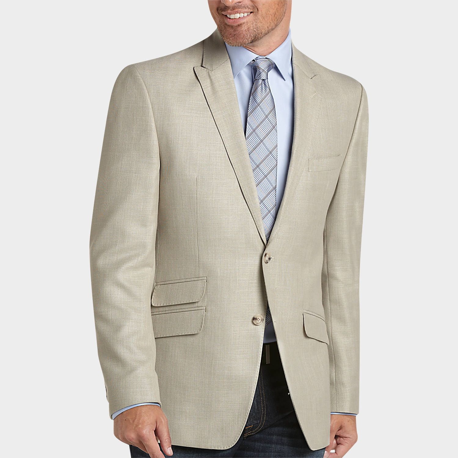 Perry Ellis Portfolio Tan Slim Fit Sport Coat - Slim Fit (Extra ...
