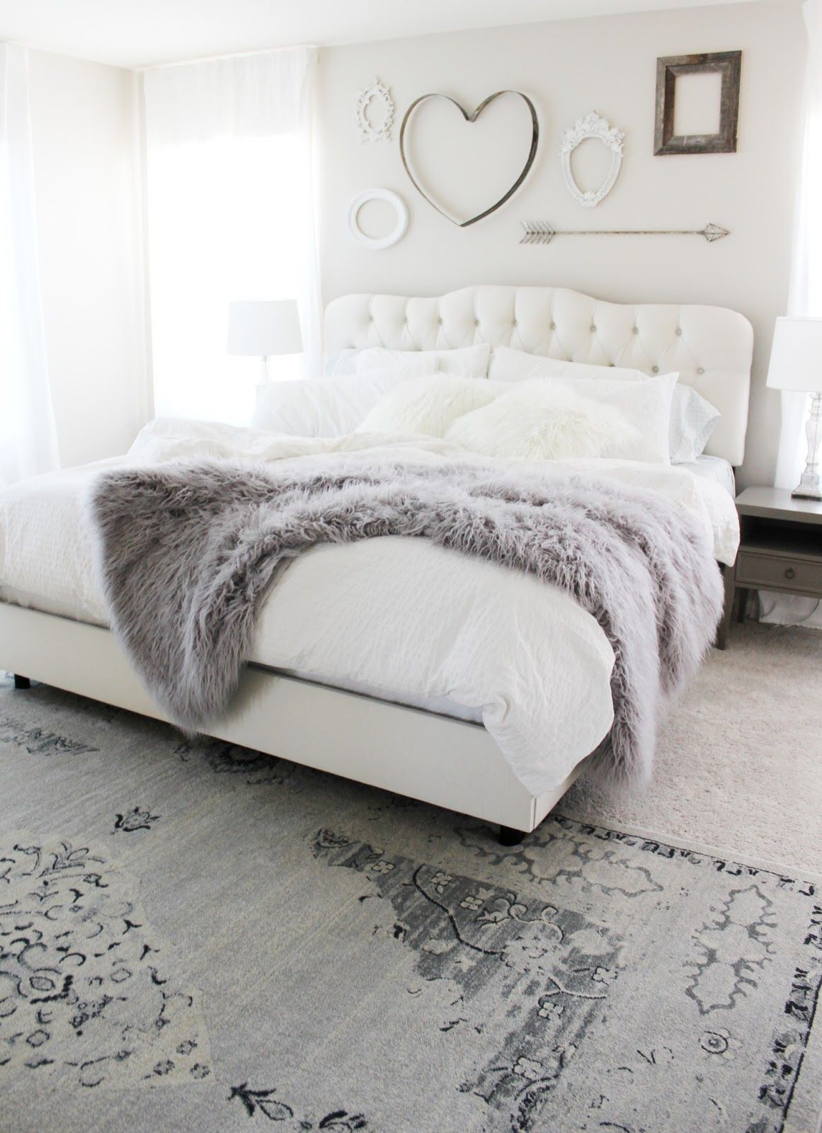 White bedding ideas - Aubrey Kinch The Blog Master Bedroom Reveal