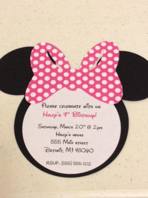 10 Handmade Minnie Mouse Invitations Polka Dot Bow Classroom