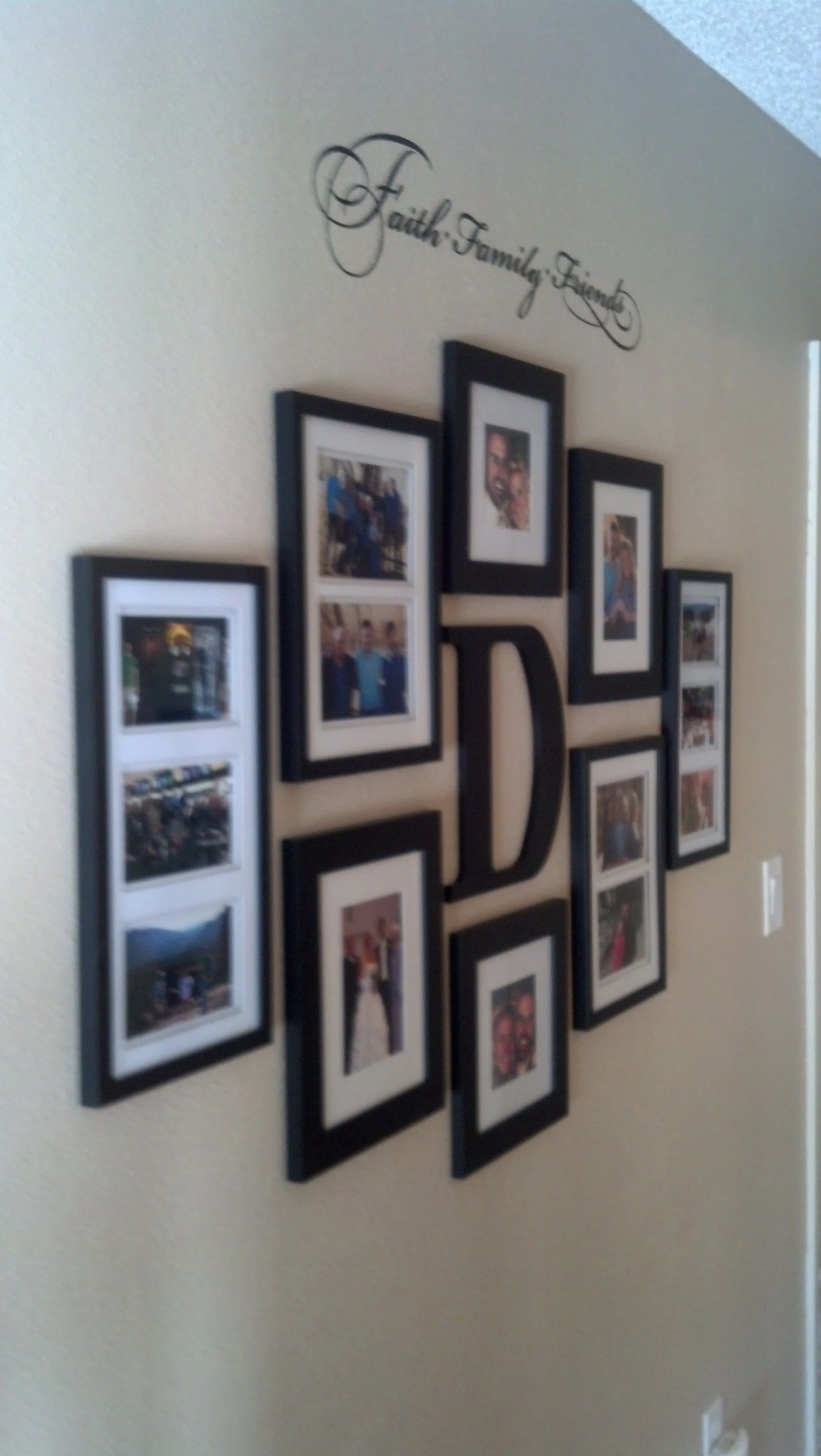 Bedroom wall decorating ideas picture frames - Faith Family And Friends Hallway Wall Collage