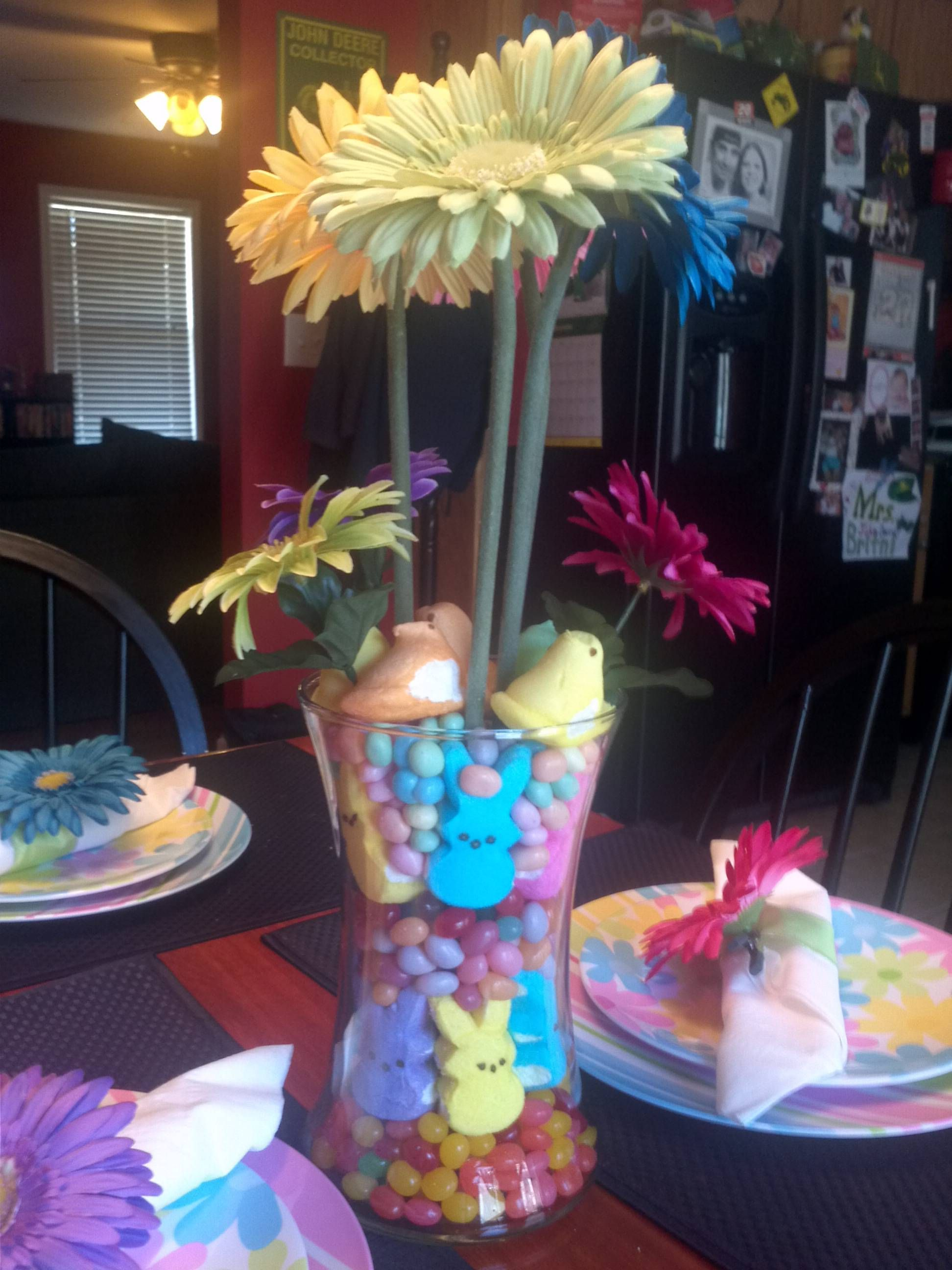 New spring center piece for my table using fake spring flowers new spring center piece for my table using fake spring flowers peeps and jelly mightylinksfo