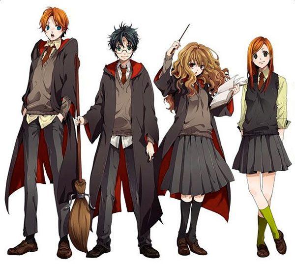 Die Beruhmtberuchtigten Drei Das Goldene Trio Naja Und Ginny Harry Potter Anime Personnages Harry Potter Harry Potter