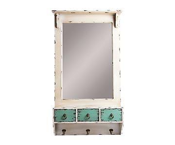Espejo de pared de madera dm aisha blanco envejecido for Espejo blanco envejecido