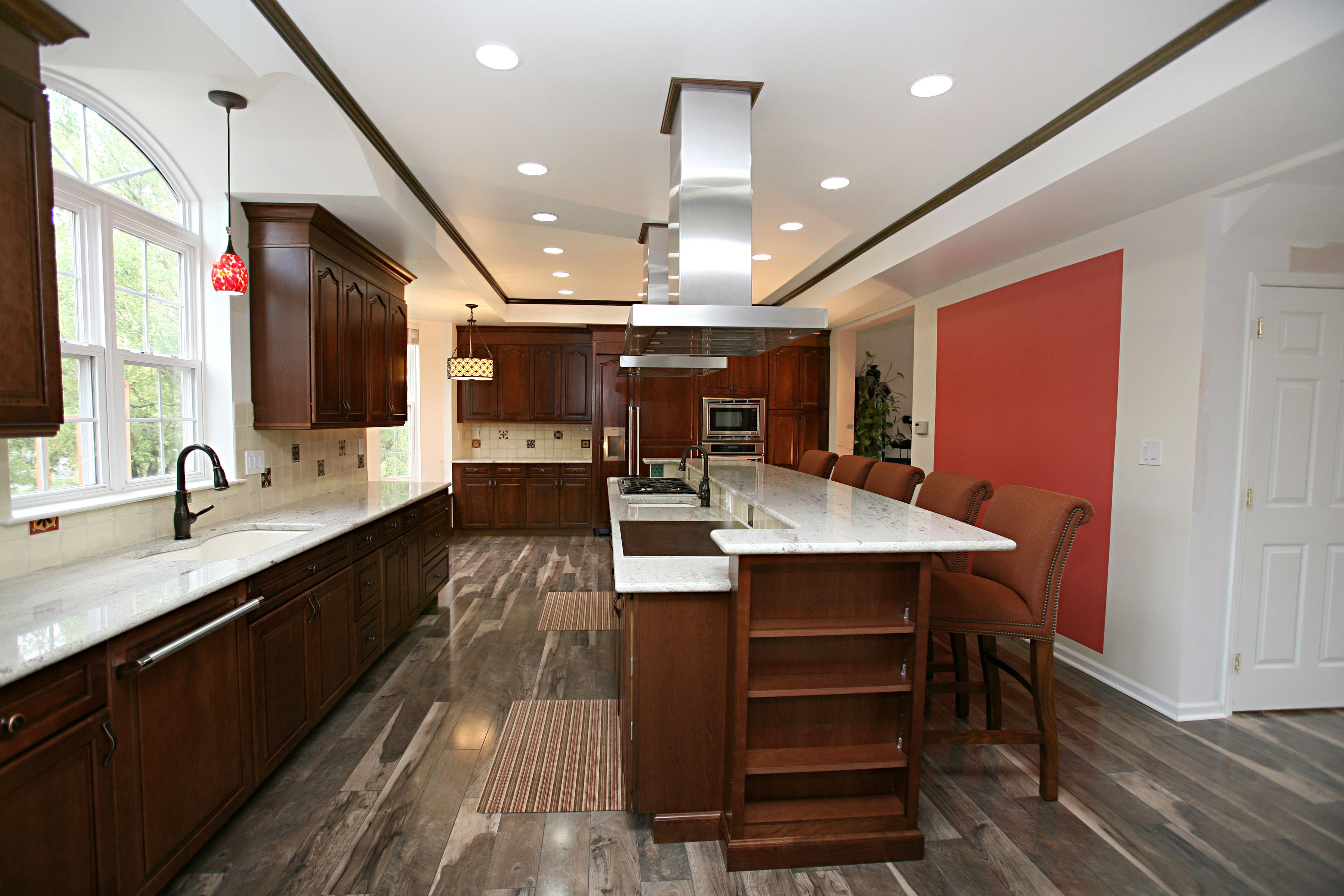 Wood Like Floor With Cherry Cabinets Google Search Hardwood Design Cherry Cabinets Kitchen Flooring