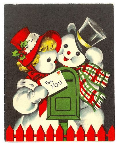 Vintage Mr & Mrs Snowman Christmas Card
