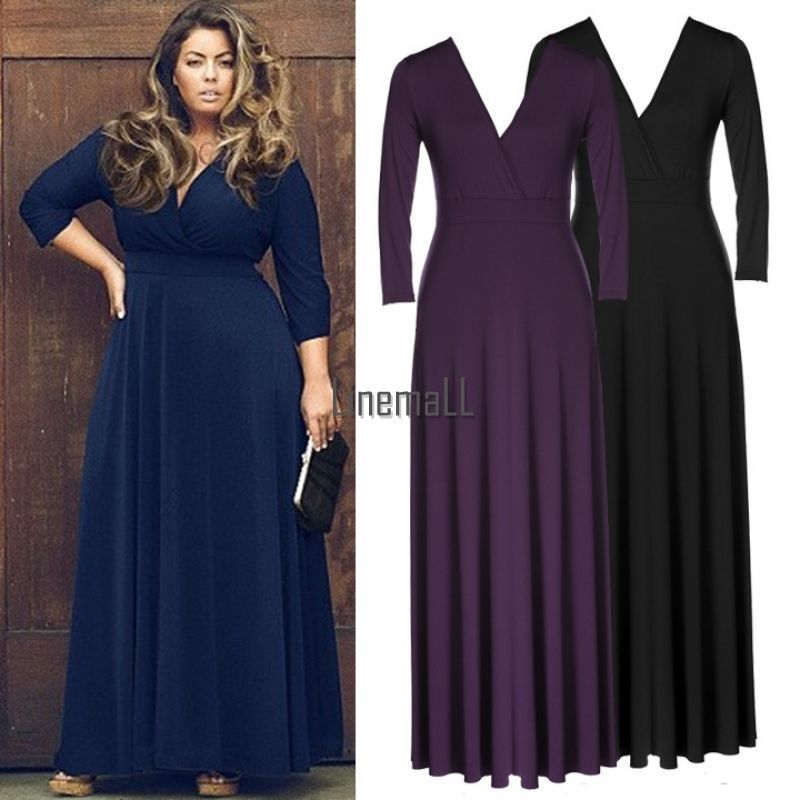 Women Bodycon V Neck Long Sleeve Clubwear Party Long Dress Plus Size Lm