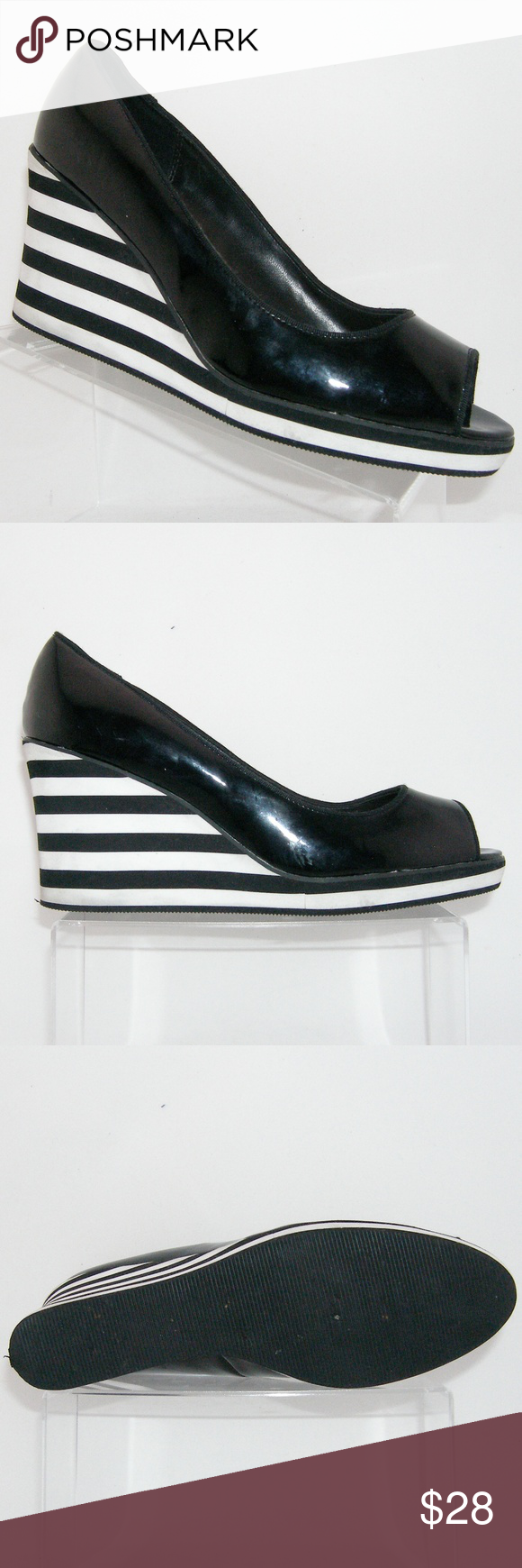 26e94b804d8 American Eagle black striped platform wedges 11 These America Eagle shoes  features a patent man made