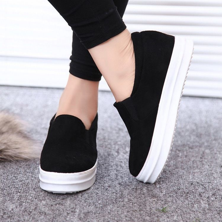 Hot Womens Hidden Wedge Heels Lace Mesh Slip Ons Loafers Trainers Sneaker Shoes