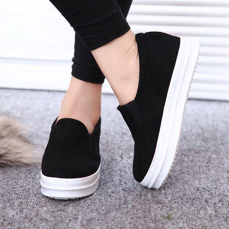 Women casual Platform Hidden Wedge Flat Slip On Creeper Sports Sneaker Shoes