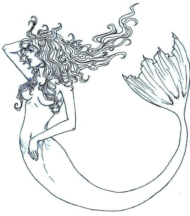 Mermaid Outline Tattoo Mermaid outline by pandabearr