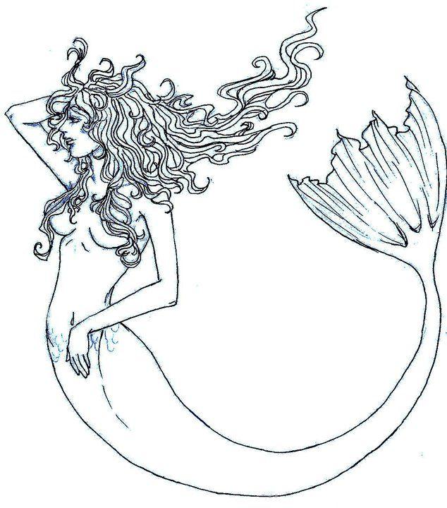 Mermaid Tattoo Line Drawing : Mermaid outline by pandabearr on deviantart mermaids