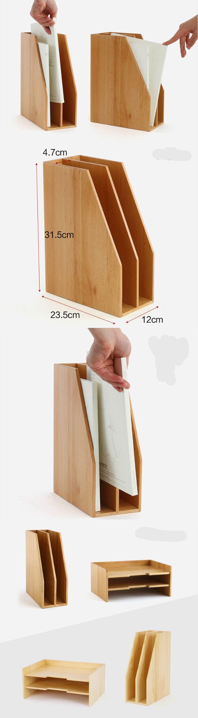 Bamboo Wooden Magazine Letter Holder Rack Storage