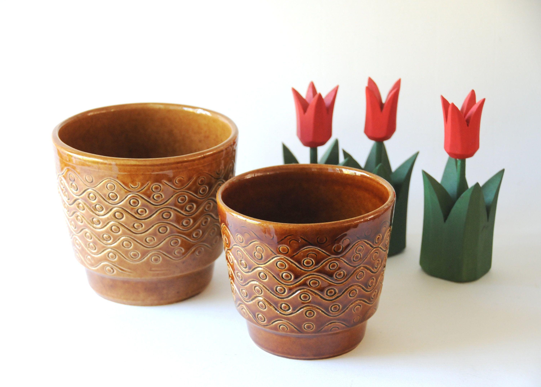 Two Modernist Planters German Pottery Pair Retro Plant Pots Vintage Planter Decor Retro Ceramic Flower Pots Mid Century Modern
