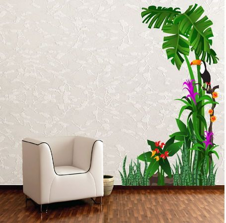 Tropical Nature Birds and Tree Wall Stickers Lobby Design