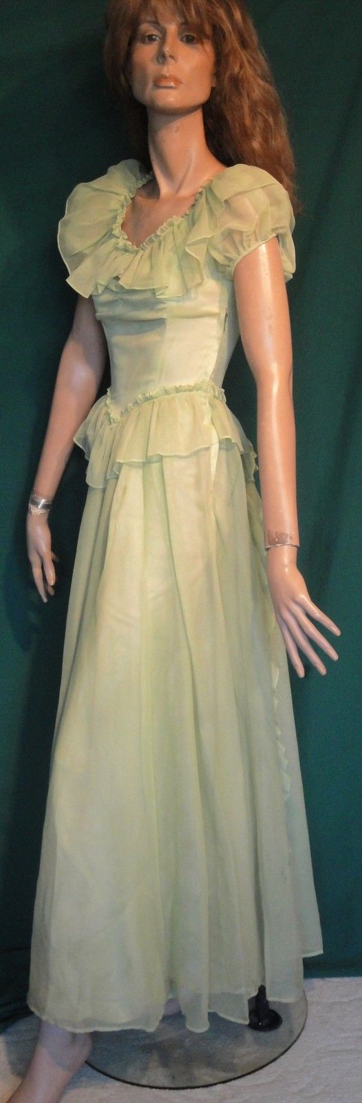 Gorgeous mint green long us side zip vintage gown long dress b