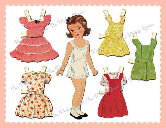 doll out sheets cut paper Vintage
