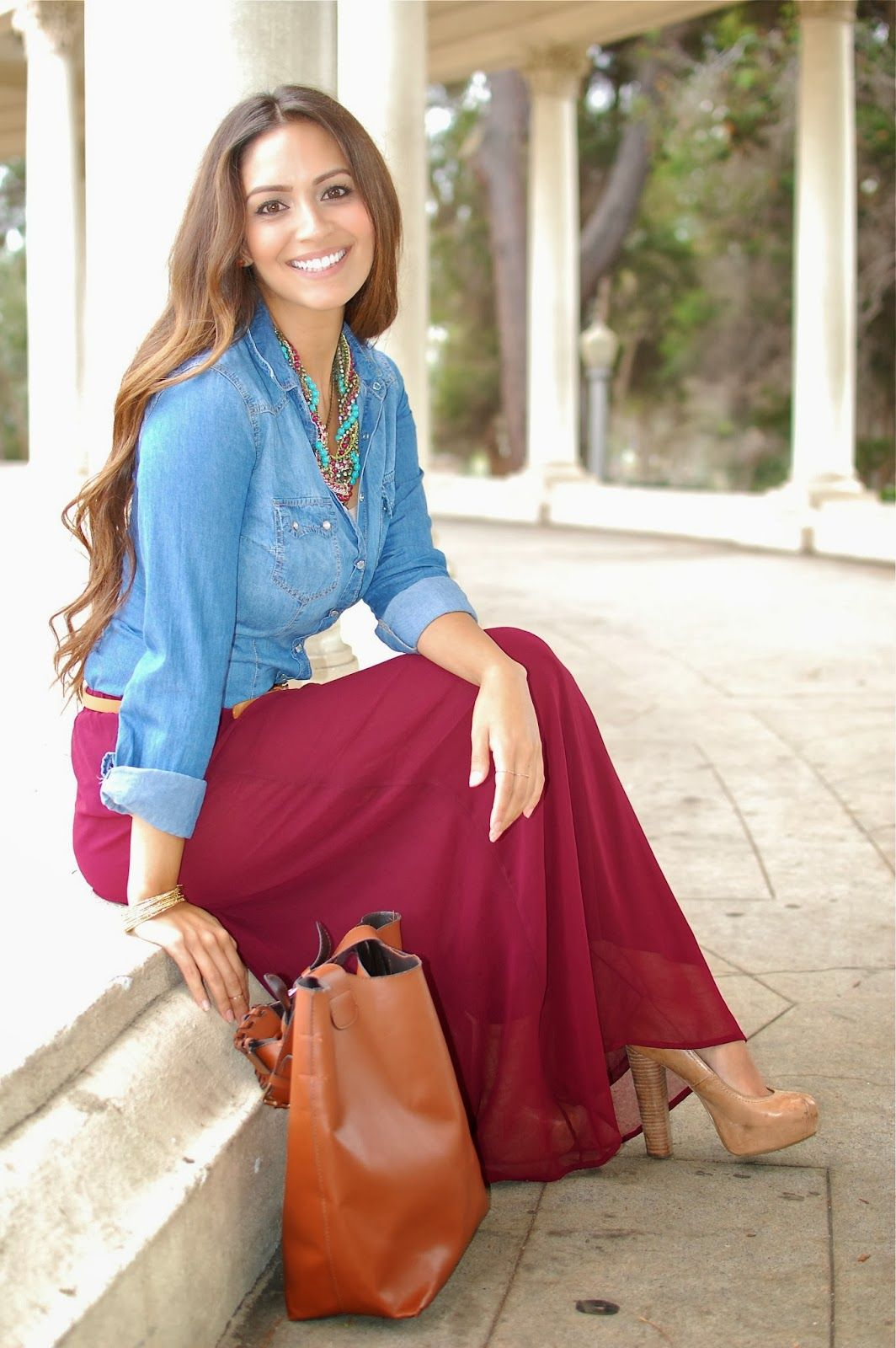 Burgundy and Chambray and chunky necklace
