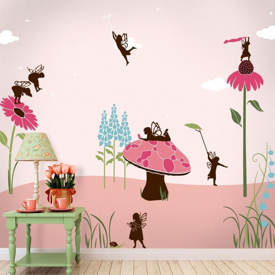 Wall painting stencils kids rooms fairy stencil kit my wonderful walls fairy mural  for children