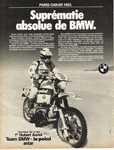 PUBLICITE-ADVERTISING-015-1982-BMW-moto-PARIS-DAKAR-83-HUBERT-AURIOL ... 6ee1e96a50