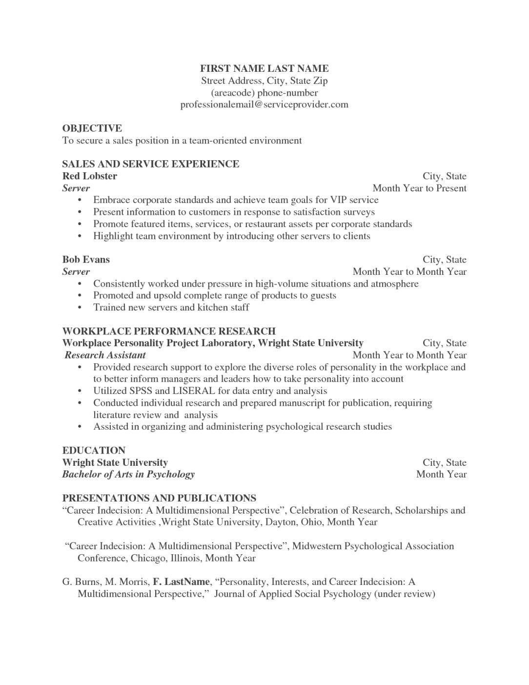 Server Resume Template Restaurant Server Resume Sample Example Amp Bar Resumes Livecareer