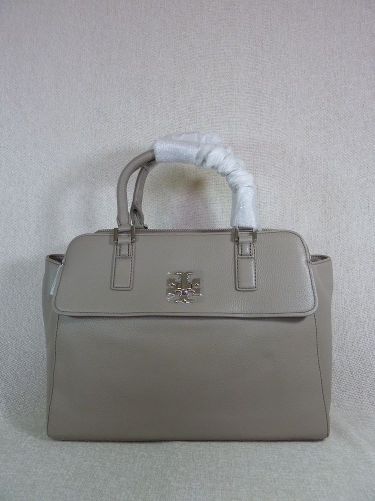 f07b78e3e021 NWT Tory Burch French Gray Pebbled Leather Mercer Dome Satchel  535   ToryBurch  Satchel