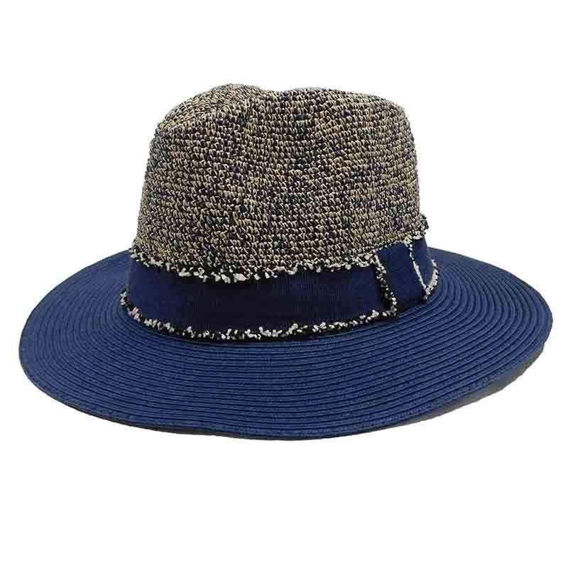 cf1e74eb Women's Tweed Navy Raffia Crown Safari-Fedora Hat by Sun Styles —  SetarTrading Hats