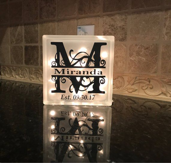 Wedding Gifts For Relatives: Personalized Night Light, Monogrammed Light Box, Frosted