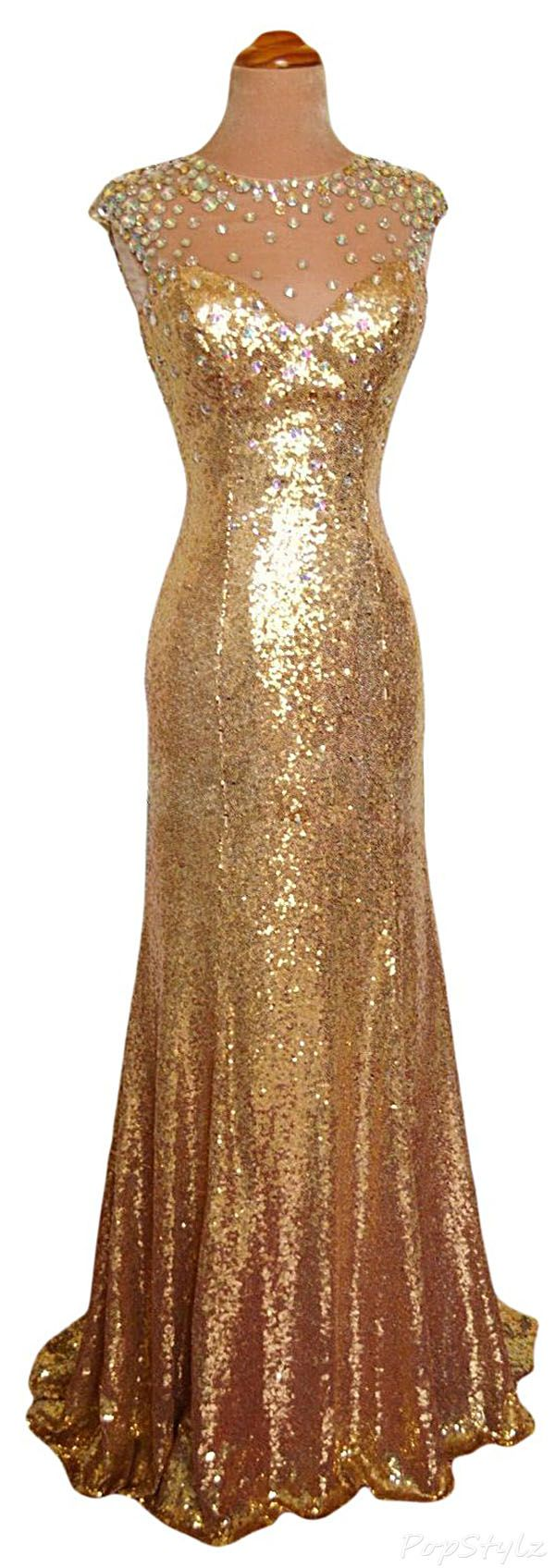 Sunvary gold jewel mermaid long shimmering gown glorious gold