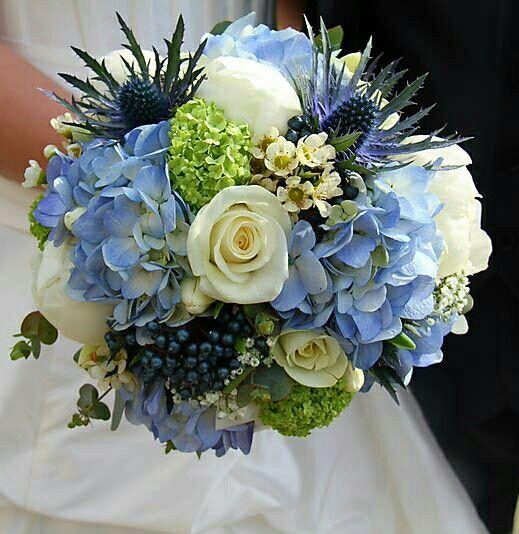 Blue Hydrangea, Blue Eryngium Thistles, Dark Blue Privet