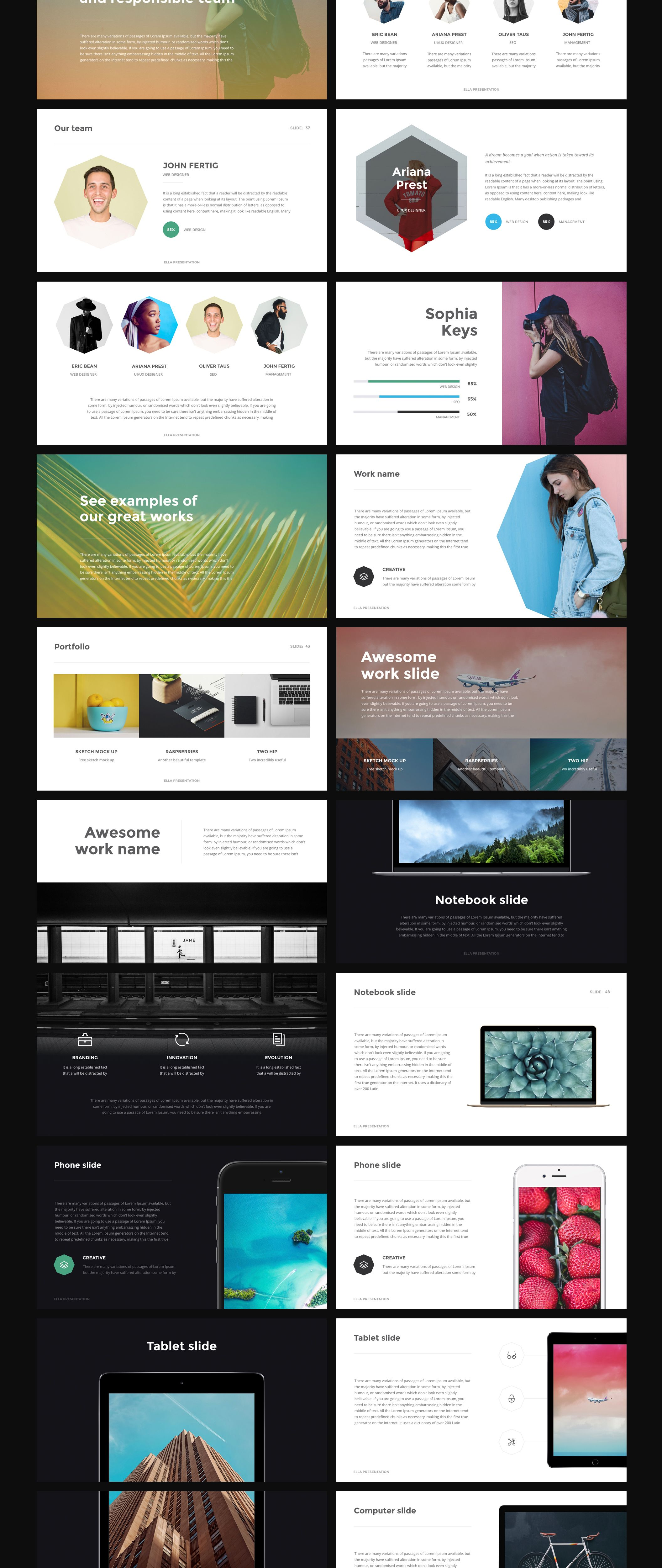 ella it's simple and beautiful clean presentation for powerpoint, Powerpoint templates