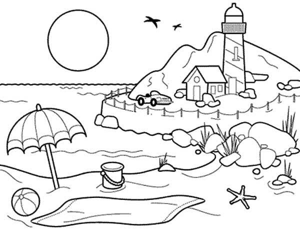 Beach Landscapes With Lighthouse Coloring Pages Beach Coloring Pages Free Kids Coloring Pages Summer Coloring Pages