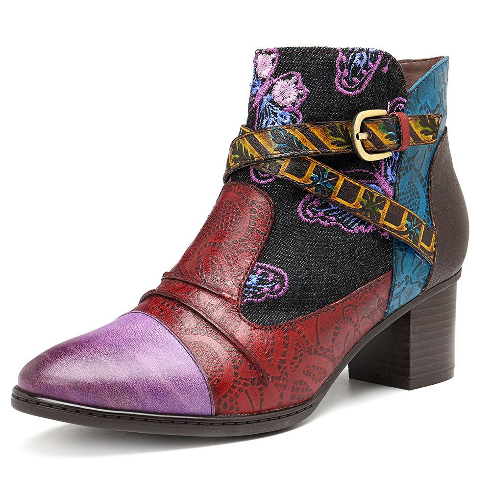 SOCOFY Women Ladies Cowboy Ankle Boots Low Heel Floral Zipper Comfy Casual