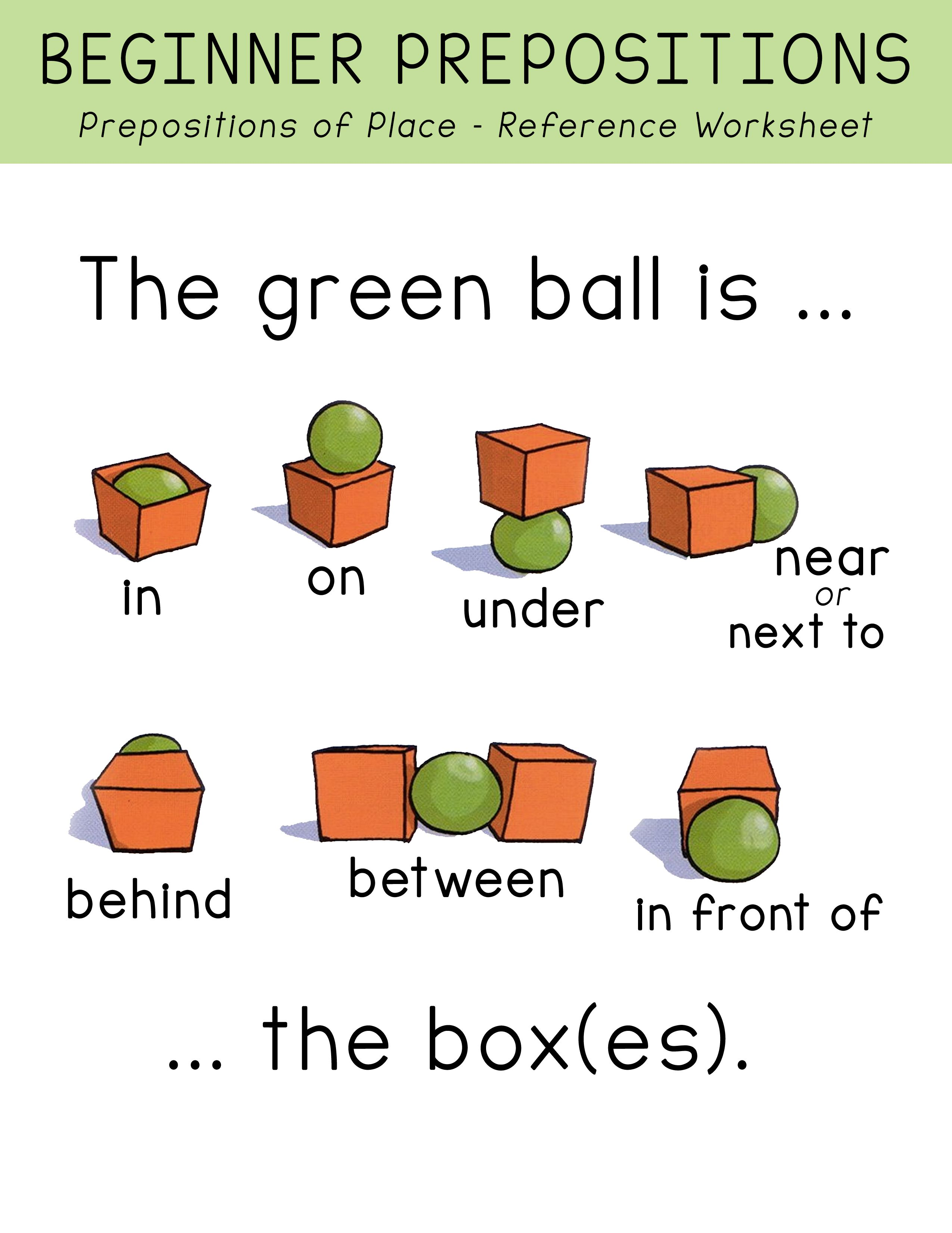 Free Beginner Prepositions Of Place Worksheets