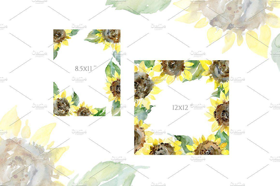 Watercolor Sunflower Flowers Leaves in 2020 Watercolor