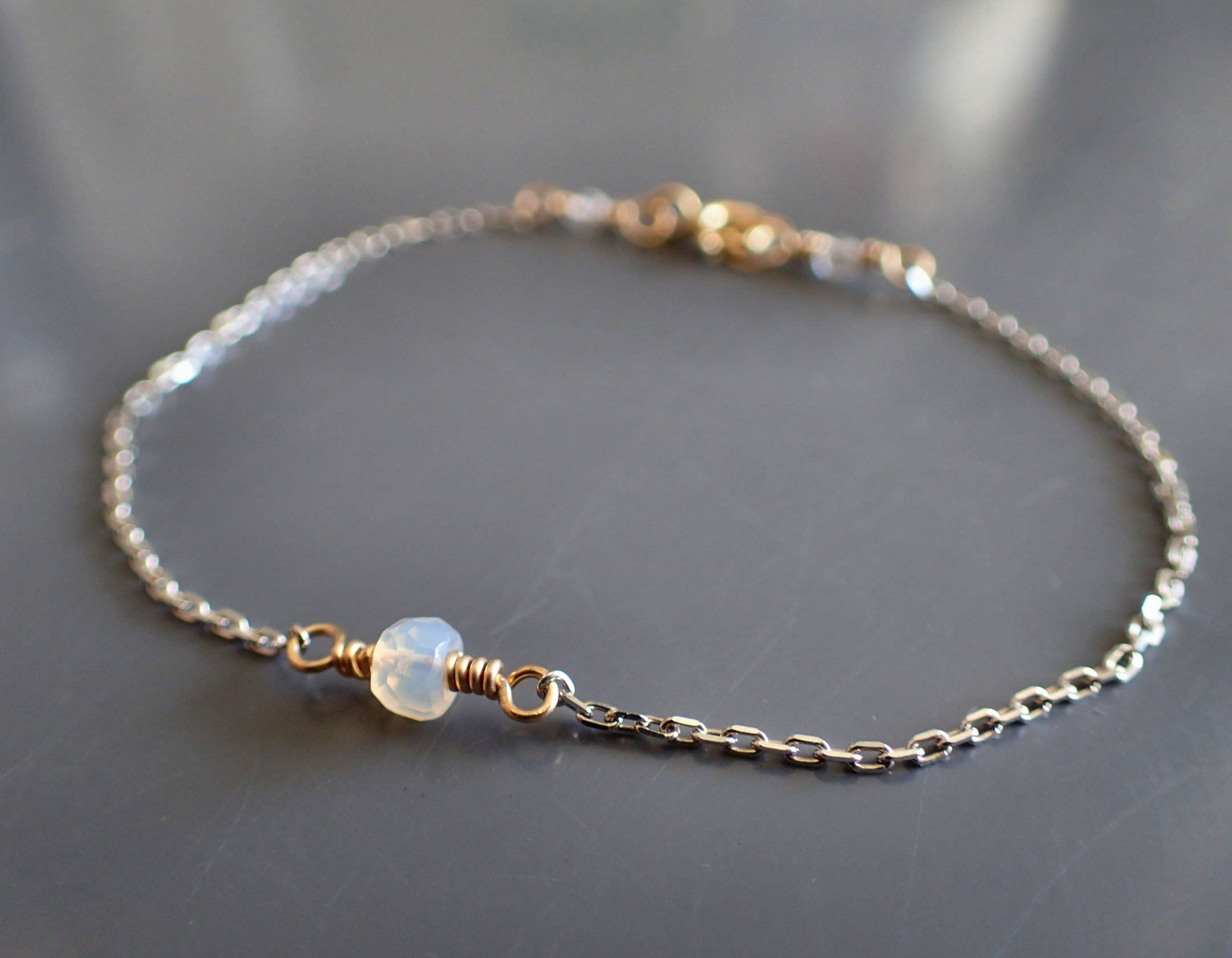 p multi bracelet plated gemstone sterling silver in bar over gold rose delicate