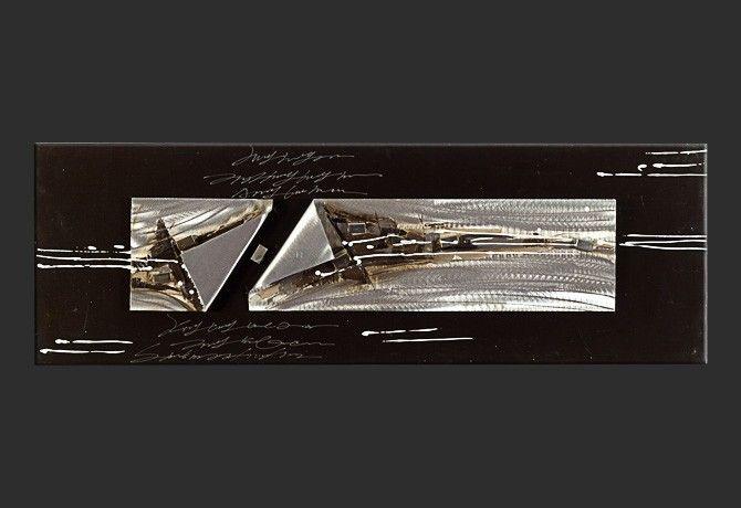 Quadro moderno dipinto a mano su placche di acciaio spazzolato