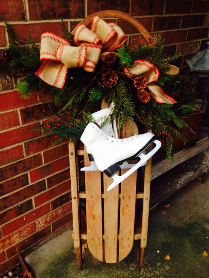 Love this antique sled & vintage skates, perfect porch display ...