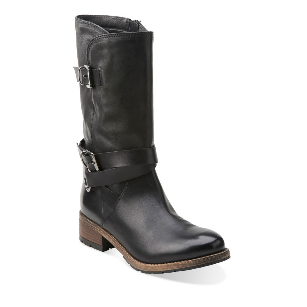 Womens Boots Clarks Volara Melody Black Leather