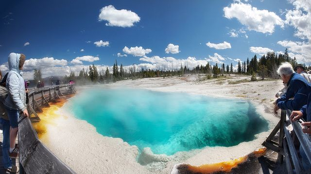'A Hot Dip', United States, Wyoming, Yellowstone, West Thumb Geyser Basin, Black Pool by WanderingtheWorld (www.LostManProject.com), via Flickr
