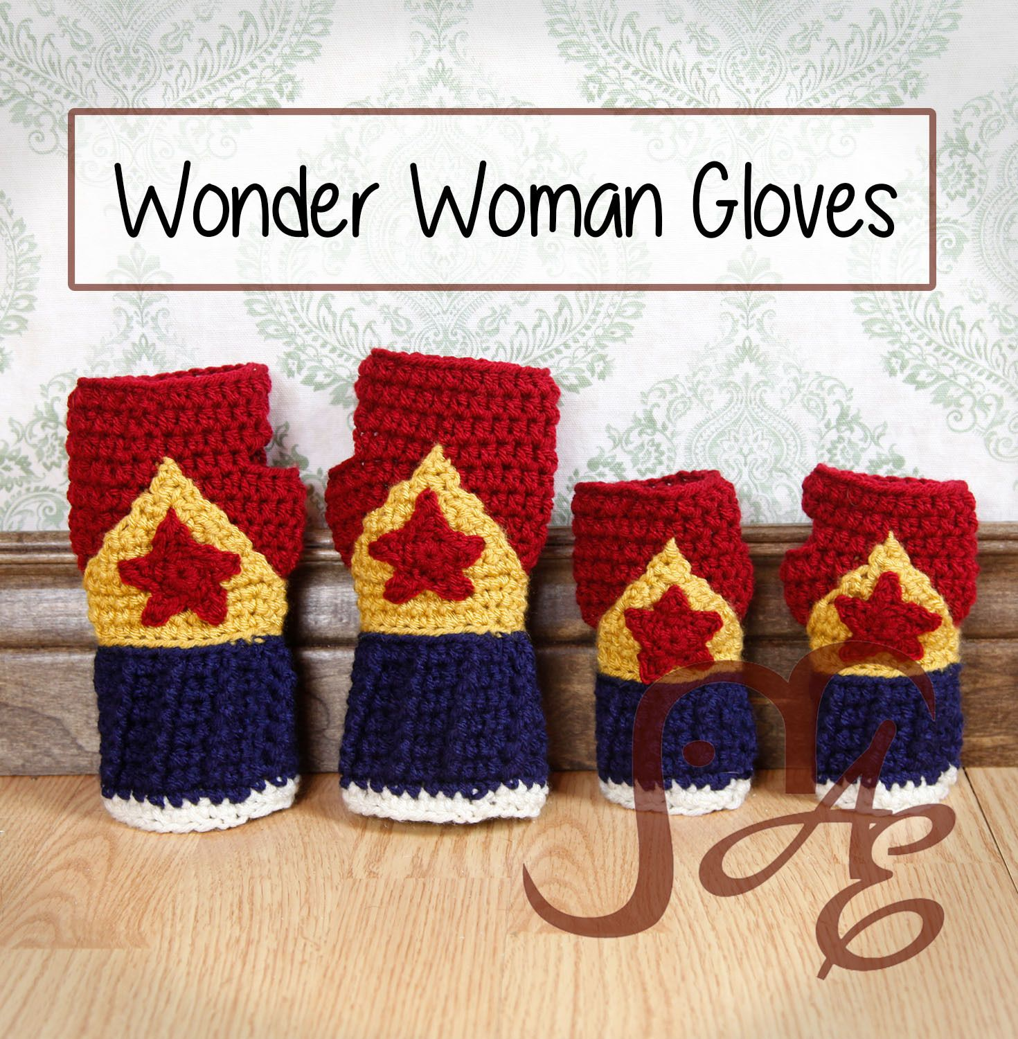 Free Crochet Pattern Wonder Woman Fingerless Gloves | Crochet 8 ...
