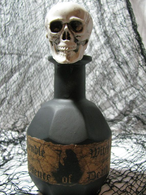 Up-cycled glass bottle turned creepy Halloween decor! \ - creepy halloween decor