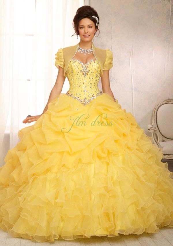Cheap of Sweetheart Yellow Organza Beaded Sequined Floor Length ...