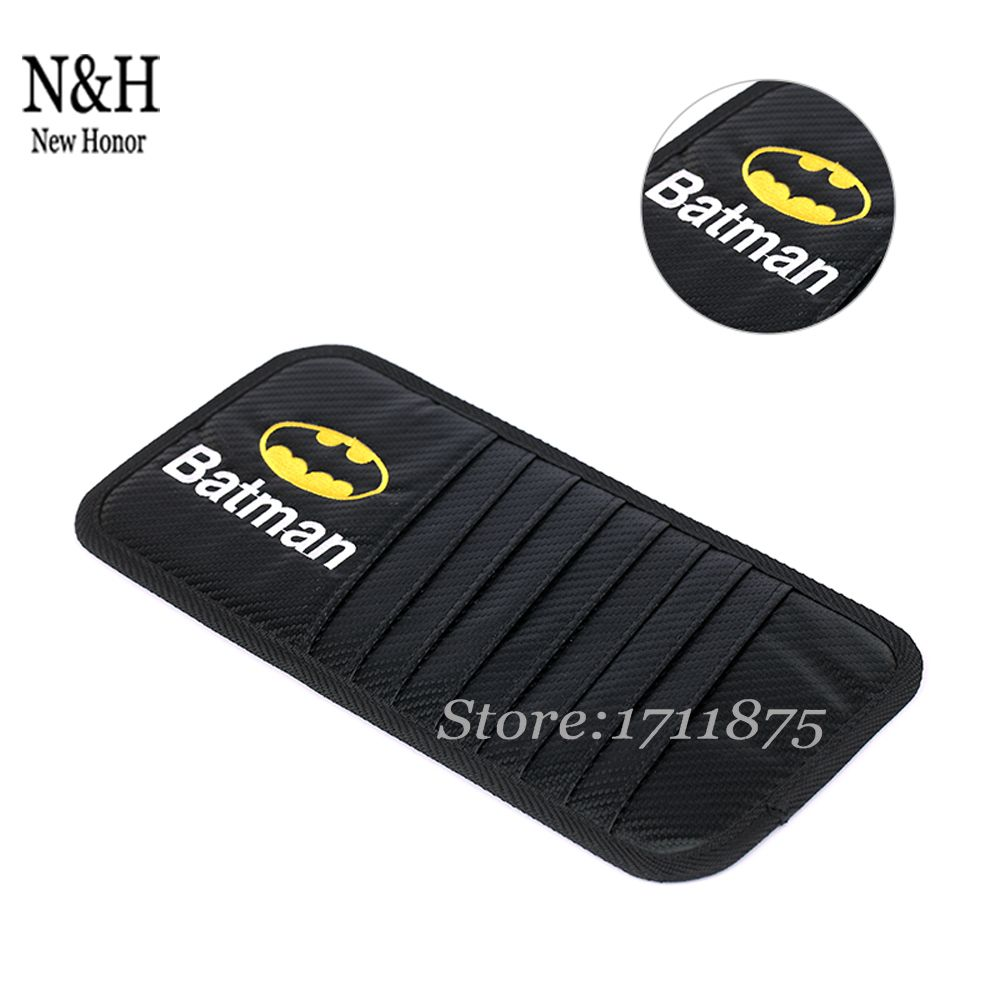 Carbon Fiber Cloth Car Sun Visor Card Case CD DVD Storage Bag Holder Clipper For Batman Logo For Hyundai Infiniti Jaguar Lexus