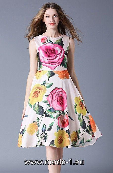A Linie Midi Party Kleid mit Rosen - Online & Trend Farben ✓ Must ...