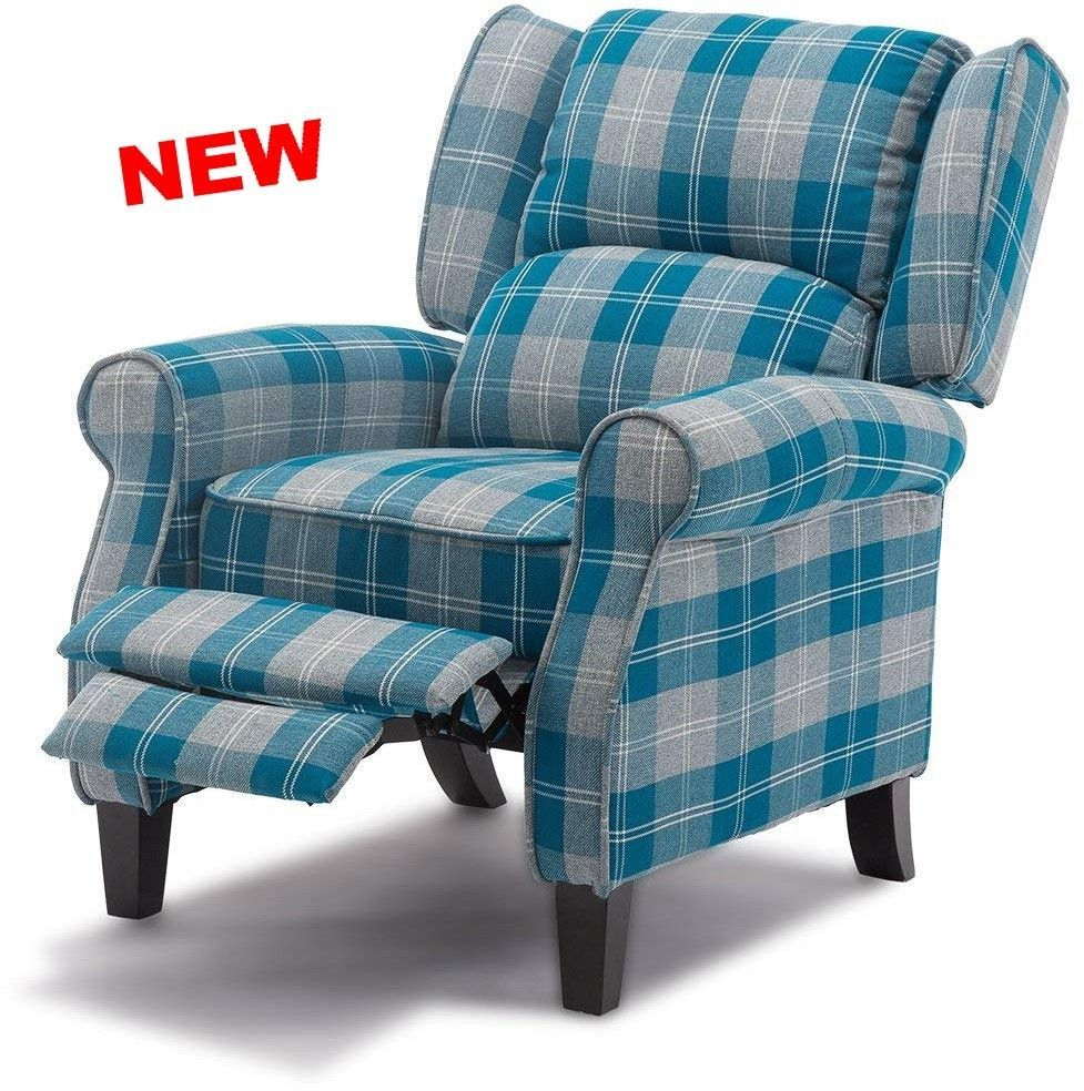 Best High Back Wing Chair Blue Recliner Armchair Sofa Lounge 400 x 300
