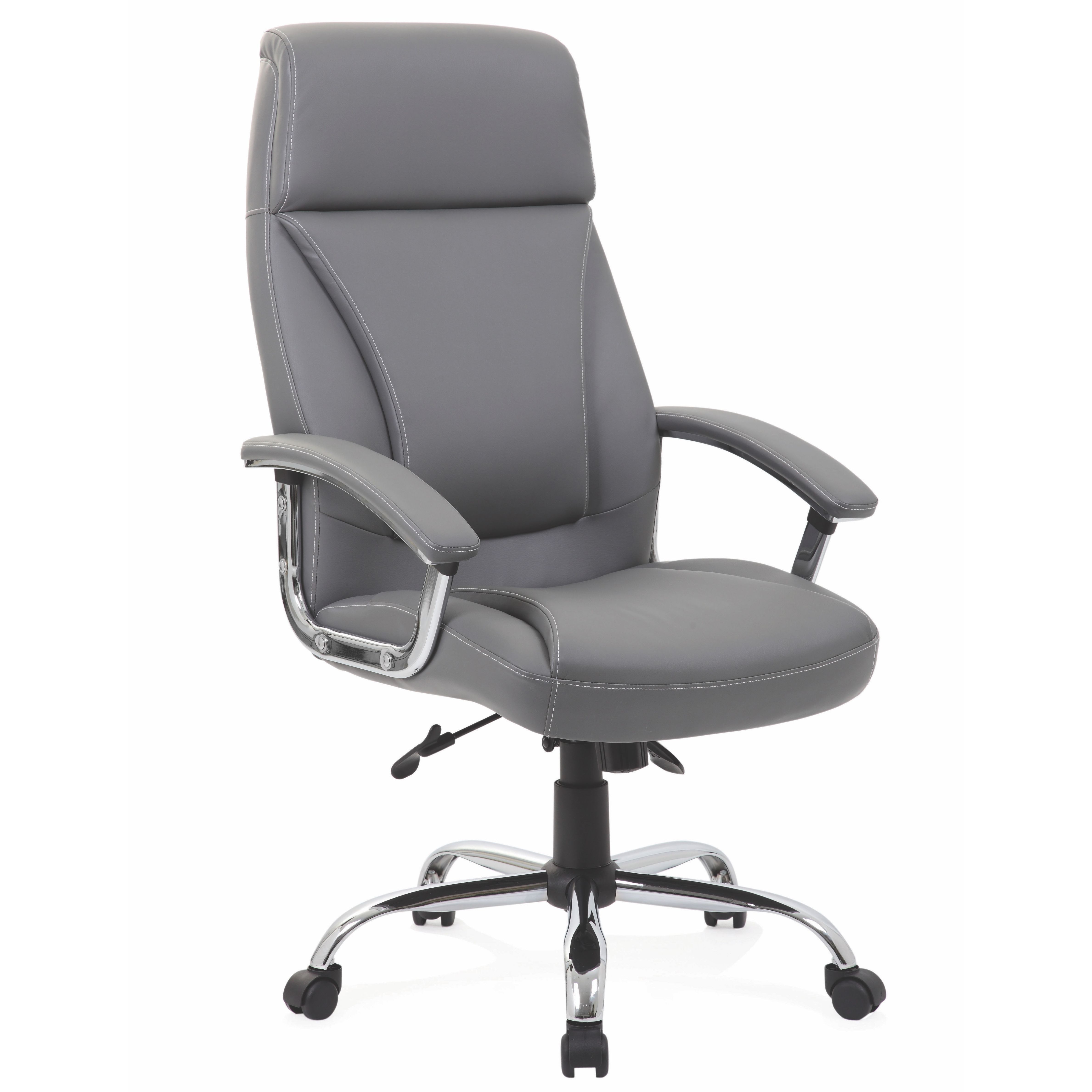 Penza Executive Grey Leather Chair In 2020 Grey Leather Chair