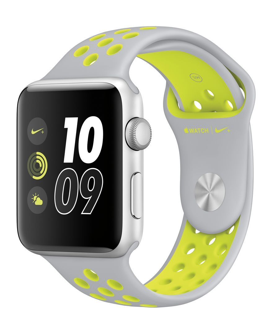 esencia cultura Contracción  Apple Watch Nike+ 42mm Silver Aluminum Case with Flat Silver/Volt Nike  Sport Band | Apple watch nike, Buy apple watch, Apple watch bands