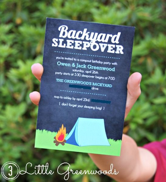 Backyard campout birthday invites with purple trail birthdays and backyard campout birthday invites with purple trail filmwisefo Image collections